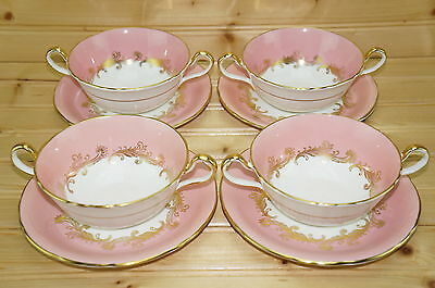 "Aynsley Sheraton Rose (4) Cream Soup Bowls, 4¾"" & (4) Cream Soup Saucers, 6 3/8"""