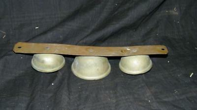 Vintage Antique Sleigh Brass 3 Bells Triple Clappers Jingle Bell On Brass Strap