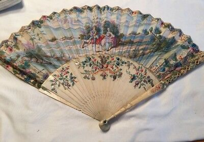Antique Handpainted Double-sided Victorian French? Fan