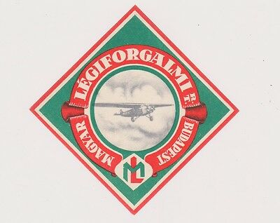 1930s Luggage Label with Airplane Maygar Airline Budapest