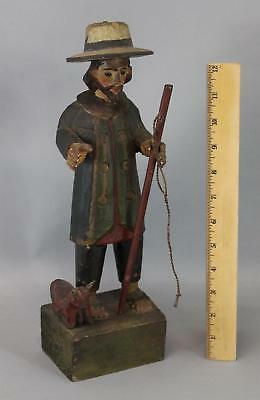 Antique Folk Art Carved & Painted Spanish Farmer Carving Sculpture Glass Eyes NR