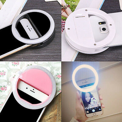 Black Selfie Portable LED Ring Fill Light Camera Photography for iPhone Android