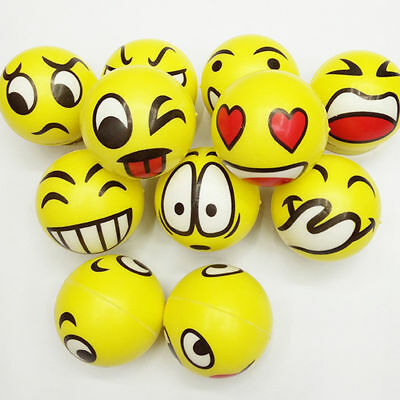 Smiley Face Anti Stress Reliever Ball ADHD Autism Mood Toy Squeeze Cute 1PC