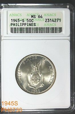 PHILIPPINES 50 Centavos 1945-S  ANACS MS-64 old holder