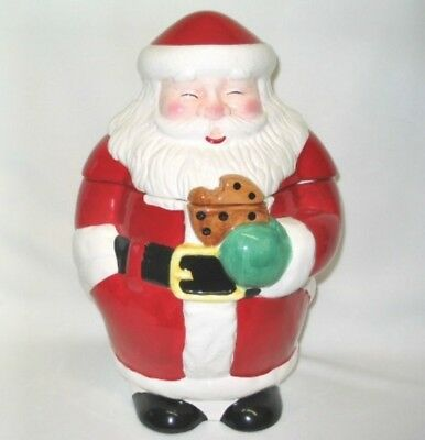 "Santa Claus Chocolate Chip Cookie Jar Christmas Standing 12"" Tall Pottery NEW"