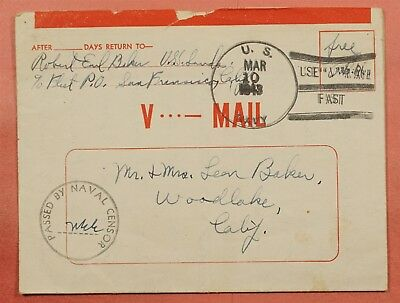 1943 V-Mail Naval Uss Sands Ship's Mail Wwii Navy Censored Free Frank