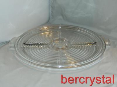 "c.1940 Anchor Hocking Manhattan Round Handled 5-Part Relish Plate 14"" Across"
