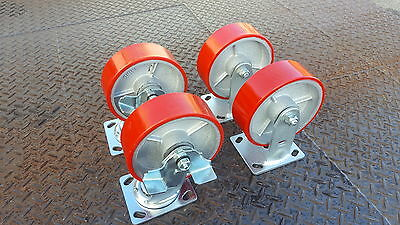 "Industrial 4x5"" 2 Fixed & 2 Swivel Brake Heavy Duty Polyurethane Castor Wheel"