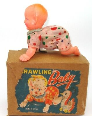 """Japanese Post-War Tinplate & Celluoid """"crawling Baby"""" - Boxed - Very Rare"""