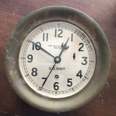 Antique U.S. Navy Chelsea Clock, Brass, Works!