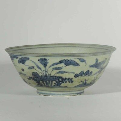 Chinese Ming Dynasty Blue and White Bowl Ship Wreck Piece, Flowers & Birds #496