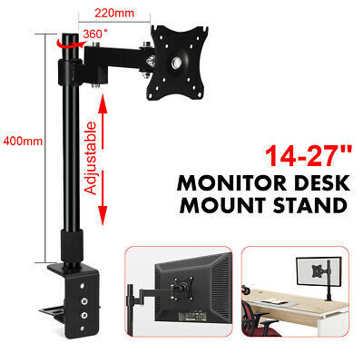 "Computer Monitor Bracket Stand Single Arm Desk Mount LCD LED 10""-24"" Screen TV"