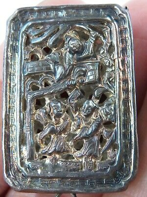Antique Chinese Qing Dynasty marked Silver snuff secret box pendant