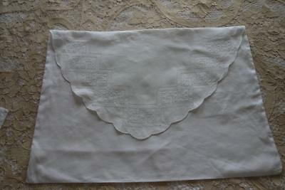 Beautiful Pair of White Linen Cut Embroidery Vintage Envelope Pillowcases