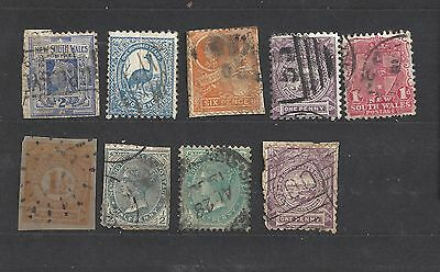 lot of 9 various used NSW stamps