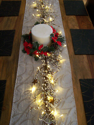 Luxury 5ft White Berry Rustic Star & Leaf Christmas Garland Table Decoration Lit