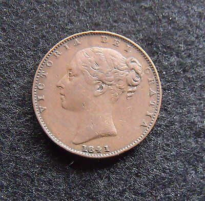 1841 UK farthing inverted A's Copper Farthing