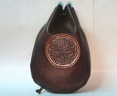 Leather Celtic Dice Rune Coin Pouch Bag Taller Brown Medieval Sca Larp