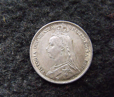 1889 Queen Victoria  .925 Silver British Sixpence Penny 6d Coin EF nice coin