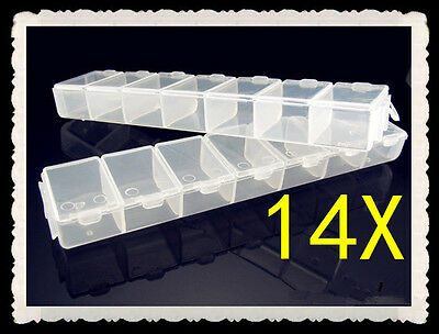 FREE 14 grid DIY Jewelry Boxes Transparent Storage Case Box Clear Beads Display