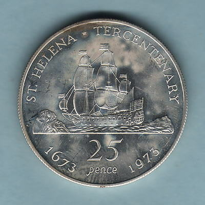 Saint Helena. 1973 25 Pence (Crown).  Silver -  PROOF