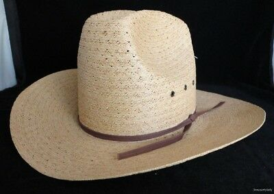 Vtg Bee Cowboy Western Hat Sz 6 7/8 Tan Straw EUC Custom Made USA Nice FR SHP