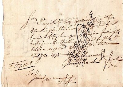1778, Oliver Wolcott, signed Revolutionary War pay note for clothing supplied