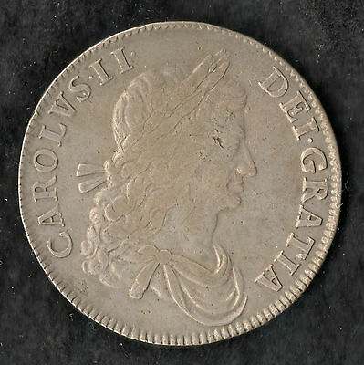 1662 Charles II Silver Crown Nice Grade First Year of Issue Milled VF