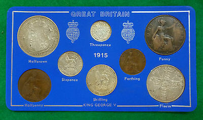 1915 WWI George V 8-Coin Year Set On Card ( 2/6 - 1/4d ) Incl 5 Silver Coins