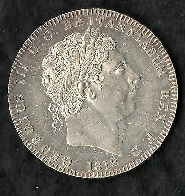 1819 George III Silver Crown LIX Edge Uncirculated Condition