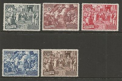 VATICAN 1951 1500th ANNIVERSARY OF COUNCIL OF CHALCEDON (5) S.G 168-172, MNH**