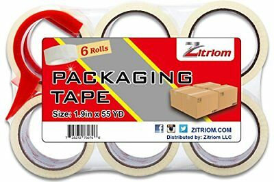 Zitriom Packing Tape with Dispenser, (Set of 6) New