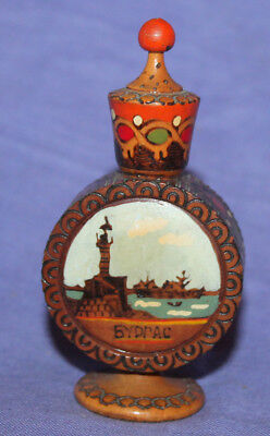 Vintage small pyrography hand painted wood bottle flask