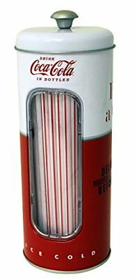 Coca-Cola Collectible Tin Straw Holder with 50 Straws (Style 2) New