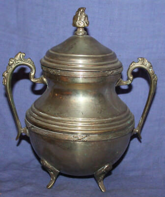 Antique ornate silver plated footed lidded sugar bowl