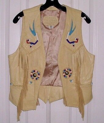 Mealey's Pitic Women's Handcrafted Leather Vest  Western Fringed Beaded Sz 12