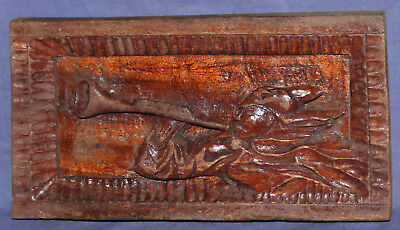 Vintage Soviet Russian hand carved wood wall decor plaque soldier with horn