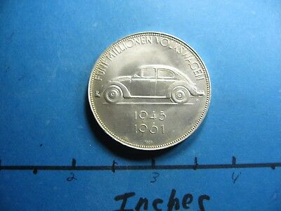Volkswagen Beetle 1945-1961 Very Rare 5 Million Cars 999 Silver Coin Very Rare