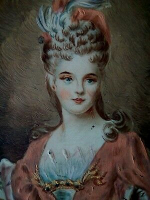 Fine 19th miniature portrait of a pretty young lady in case ANTIQUE OIL PAINTING