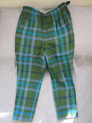 Vintage 1960's Handmade Blue And Green Retro Style Mens Flannel Pants Golf