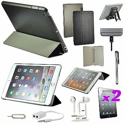 Black Leather Case Cover Headphones Holder Stand Accessory For iPad Air iPad 5