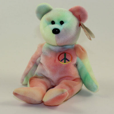 TY Beanie Baby - PEACE the Ty-Dyed Teddy Bear (Red Blue Colors 3e36a698db48