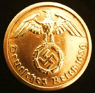 Authentic Rare German 3rd Reich 10 Rpf Coin with SWASTIKA Nazi Germany WW2 Era