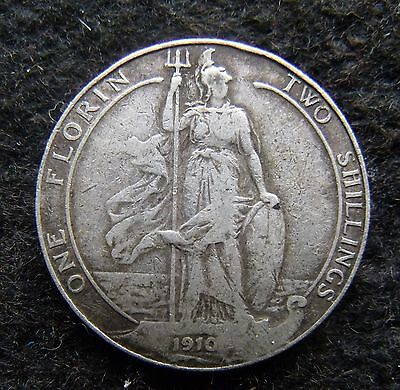 1910 Two Shillings Edward VII Florin Britiish Coin Scarce date nice condition VF