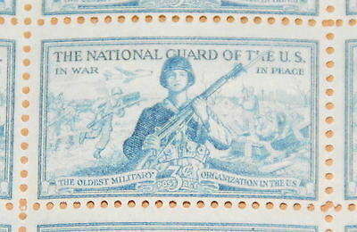 1953 sheet of postage stamps, National Guard, Sc# 1017