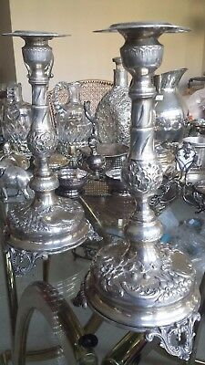 607g sterling silver set 2 carving COLONIAL STYLE CANDLE STICKS