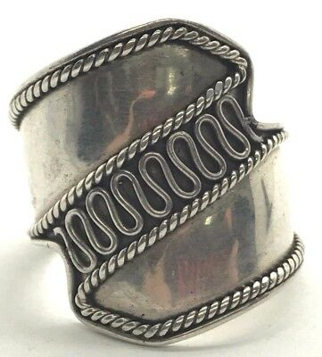 Sterling Silver Antique Style Armor Cable Twist Swirl Wide Cocktail Ring Sz 5.5