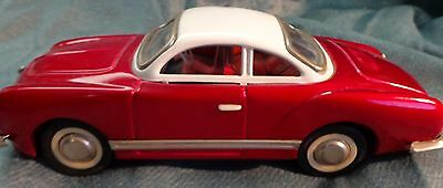 Vintage Volkswagen Karmann Ghia Sedan Tin  Friction Toy Car RED MF 743