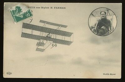 c 1909 France Pioneer Aviation HENRI FARMAN Aeroplane Airplane  Postcard