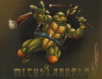 Sajad Shah SIGNED Teenage Mutant Ninja Turtles Comic Art Print ~ Michelangelo